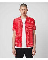 AllSaints - Men's Cherito Short Sleeve Shirt Red Size: S - Lyst