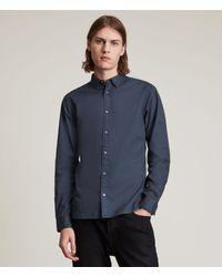 AllSaints Men's Hawthorne Stretch Fit Shirt - Blue