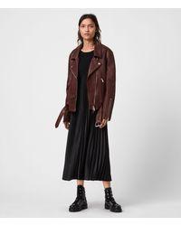 AllSaints Luna Leather Biker Jacket - Brown