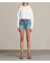 AllSaints Women's Button Boy High-rise Shorts Mid Indigo Blue Size: 25