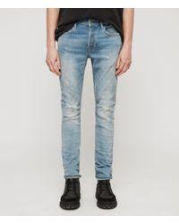AllSaints Cigarette Damaged Skinny Jeans, Light Indigo Blue