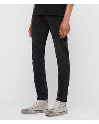 AllSaints - Rex Damaged Slim Jeans, Washed Black - Lyst