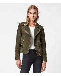 AllSaints Suede Dalby Biker Jacket - Green