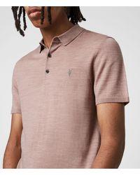 AllSaints Men's Mode Merino Short Sleeve Polo Shirt Balsastone Pink Ml Size: S