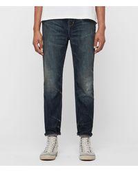 AllSaints Ridge Schmal Zulaufende Jeans mit Rissen - Blau