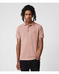 AllSaints Reform Short Sleeve Polo Shirt - Pink