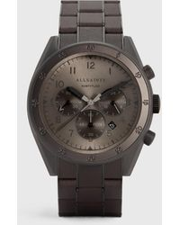 AllSaints Men's Subtitled Viii Stainless Steel Leather-wrapped Watch - Grey