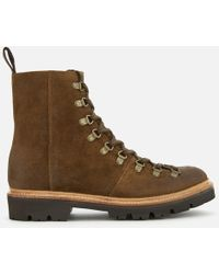 Grenson - Brady Burnished Suede Hiker Lace Up Boots - Lyst