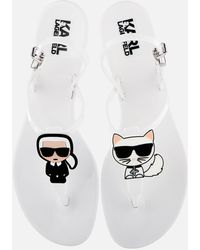Karl Lagerfeld Jelly Karl Ikonic Sling Sandals - White