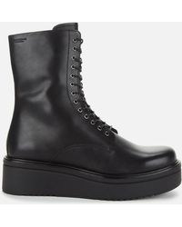 Vagabond Tara Leather Chunky Lace Up Boots - Black