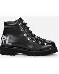 Karl Lagerfeld Kadet Ii Leather Hiking Style Boots - Black