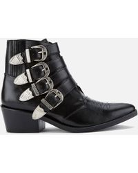 Toga Pulla - Buckle Side Leather Heeled Ankle Boots - Lyst