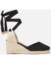 Castaner Carina Espadrille Wedged Sandals - Black