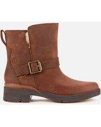 Timberland Graceyn Waterproof Leather Biker Boots - Brown
