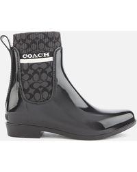 COACH Rivington Signature Knit Rain Boots - Black