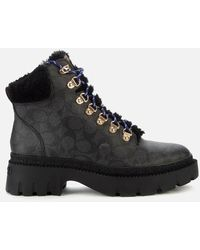 COACH Janel Coated Canvas Hiking Style Boots - Black
