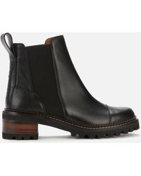 See By Chloé Mallory Leather Chelsea Boots - Black