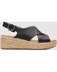 Clarks Kimmei Cross Leather Wedged Sandals - Black