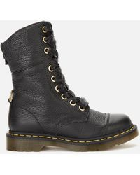 Dr. Martens Aimilita Leather/tartan Toe Cap 9-eye Boots - Black