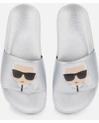 Karl Lagerfeld Kondo Ii Ikonic Slide Sandals - Metallic