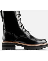 Clarks Orianna Hi Leather Lace Up Boots - Black