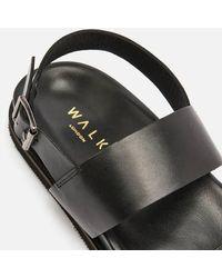Walk London Jackson Leather Double Strap Sandals - Black