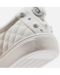 Kurt Geiger Ludo Drench Leather Quilted Cupsole Sneakers - White