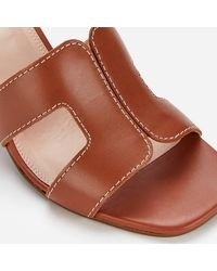 Dune Jupe Leather Heeled Mules - Brown