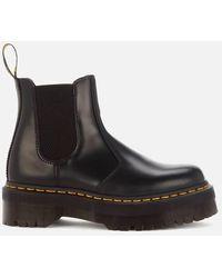 Dr. Martens 2976 Quad Polished Smooth Leather Chelsea Boots - Black