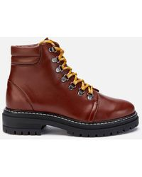 Whistles Amber Leather Hiking Style Boots - Brown