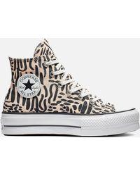 Converse Chuck Taylor All Star Jungle Art Lift Hi-top Sneakers - Natural
