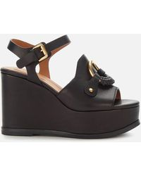 See By Chloé Leather Wedged Sandals - Black