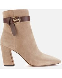 COACH Teri Suede Heeled Boots - Natural