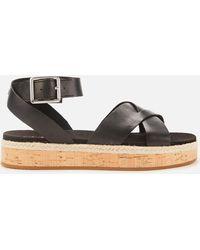Clarks Botanic Poppy Leather Flat Sandals - Black