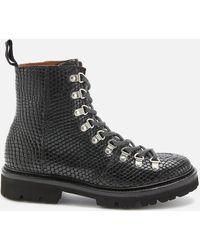 Grenson Nanette Snake Print Hiking Style Boots - Black