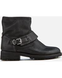 H by Hudson | Women's Mac Leather Biker Boots | Lyst