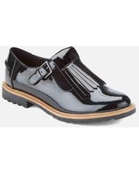 Clarks Griffin Mia Womens Wide Fringed T-bar Shoe - Black