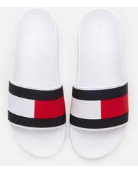 Tommy Hilfiger Essential Flag Pool Slide Sandals - White