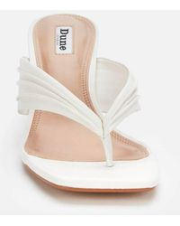 Dune Marbelle Leather Toe Post Heeled Mules - White
