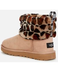 UGG Fluff Mini Quilted Leopard Sheepskin Boots - Brown