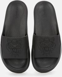 KENZO Tiger Head Pool Slide Sandals - Black