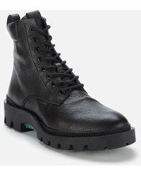 COACH Citysole Pebbled Leather Lace Up Boots - Black