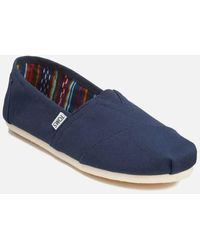 TOMS Classic Alpargata Slip On Espadrille Shoes - Navy - Blue