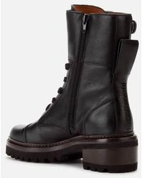 See By Chloé Leather Lace Up Military Boots - Black