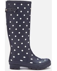 Joules Welly Print Back Adjustable Tall Wellies - Blue