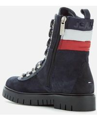 Tommy Hilfiger Padded Nylon Lace Up Boot Mid Boots - Blue