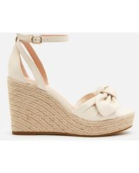 Kate Spade Tianna Leather Wedged Sandals - Natural