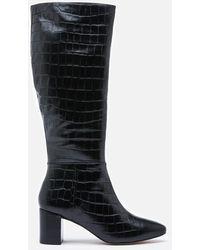 Dune Saffia Croc Printed Leather Knee High Boots - Black