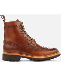 Grenson Fred Leather Brogue Boots - Brown