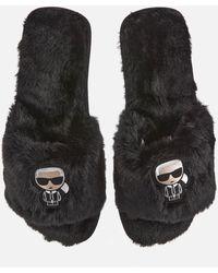 Karl Lagerfeld Salotto Ii Ikonic Slip-on Slippers - Black